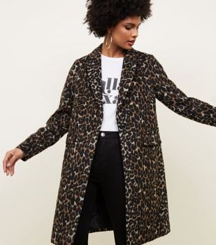 new look leaopard print coat