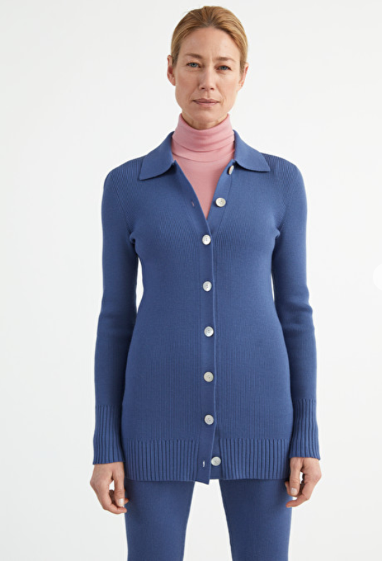 Blue knit loungewear set from Andotherstories.
